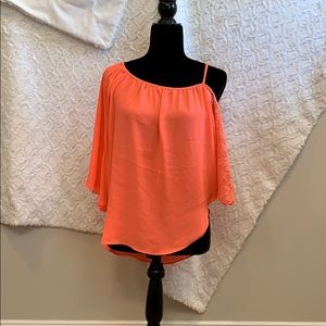 Coral/neon pink off the shoulder blouse